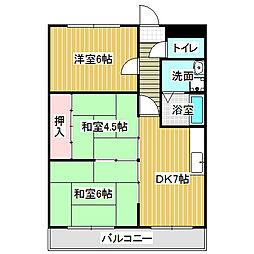 愛知県名古屋市中川区服部4丁目の賃貸マンションの間取り