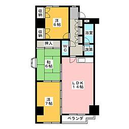 カニエ中央ハイツ[3階]の間取り