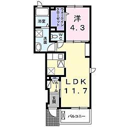 JR片町線(学研都市線) 忍ヶ丘駅 徒歩18分の賃貸アパート 1階1LDKの間取り