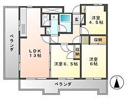 第13オーシャンビル[12階]の間取り