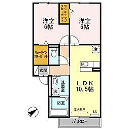 愛知県西尾市道光寺町天王下の賃貸アパートの間取り