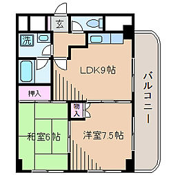 神奈川県横浜市港北区大倉山7丁目の賃貸マンションの間取り