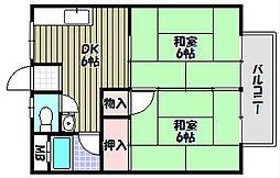 大阪府富田林市久野喜台1丁目の賃貸アパートの間取り