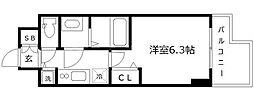 エス・キュート京町堀(旧プレサンス京町堀サウス) 15階1Kの間取り