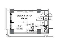 HF駒沢公園レジデンスTOWER 19階1LDKの間取り