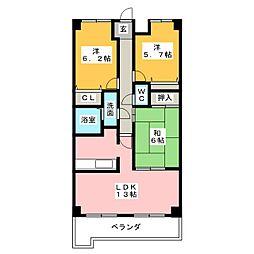 覚王山センタービル[13階]の間取り