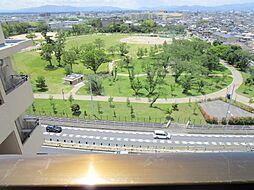 エレベーターを降りて西を向くと公園があります。近くに桜の森公園があるので、運動したいときに、すぐ行けますね。