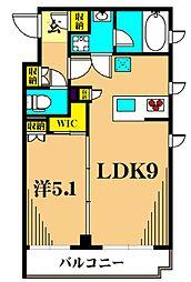 アジールコート東大井 3階1LDKの間取り