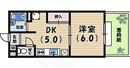 桜ハイツ 1階1DKの間取り