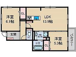 竹の花[1階]の間取り