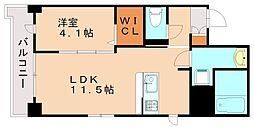 JR鹿児島本線 箱崎駅 バス15分 内橋下車 徒歩1分の賃貸マンション 2階1LDKの間取り