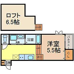 愛知県名古屋市西区枇杷島3丁目の賃貸アパートの間取り
