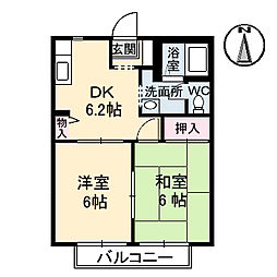 岡山県岡山市北区牟佐の賃貸アパートの間取り