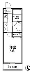 東京メトロ丸ノ内線 中野新橋駅 徒歩5分の賃貸アパート 1階1Kの間取り