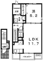 プレステージガーデン 2階1LDKの間取り