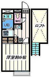 千葉県松戸市八ヶ崎7丁目の賃貸アパートの間取り
