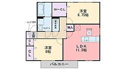 福岡県福岡市西区富士見1丁目の賃貸アパートの間取り