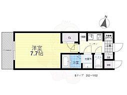 S-RESIDENCE三国WEST 3階1Kの間取り