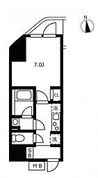 JR山手線 浜松町駅 徒歩3分の賃貸マンション 7階1Kの間取り