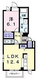メゾンドファミーユ鶴見緑地公園2B[1階]の間取り