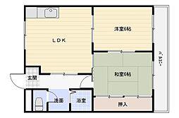 角野第5マンション[1階]の間取り