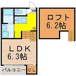 愛知県名古屋市西区南川町の賃貸アパートの間取り
