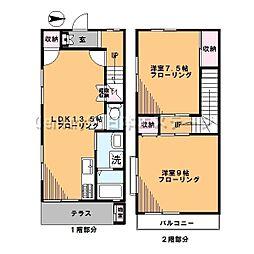 [テラスハウス] 東京都世田谷区中町3丁目 の賃貸【/】の間取り