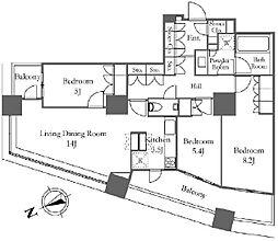 ザ・パークハウス西新宿タワー60[55階]の間取り