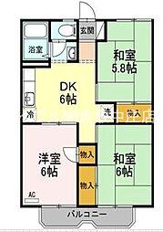岡山県倉敷市田ノ上新町の賃貸アパートの間取り