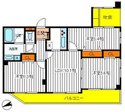 東京都日野市日野本町3丁目の賃貸マンションの間取り