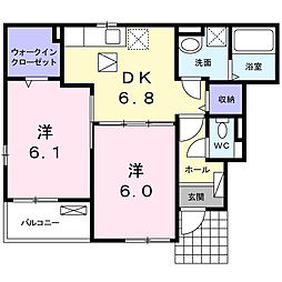 サンリットガーデンB[1階]の間取り