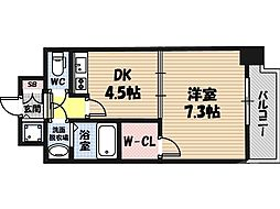 クレアート大阪EAST G4 6階1DKの間取り