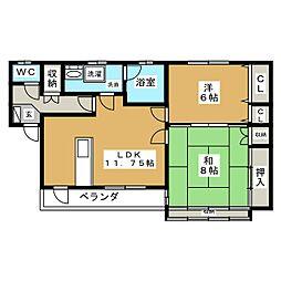 斉藤アパート(9−36)[2階]の間取り