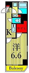 東京メトロ日比谷線 三ノ輪駅 徒歩6分の賃貸マンション 6階1Kの間取り