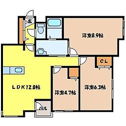 北海道札幌市西区二十四軒三条6丁目の賃貸マンションの間取り