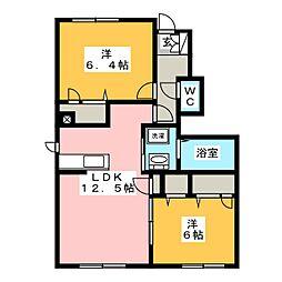 シャーメゾン庭瀬[1階]の間取り