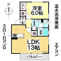 愛知県名古屋市南区若草町の賃貸アパートの間取り