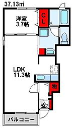 JR鹿児島本線 赤間駅 徒歩9分の賃貸アパート 1階1LDKの間取り