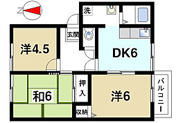 サニーコートA[1階]の間取り