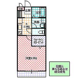 yukoto B棟[205号室号室]の間取り