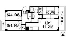 南宝塚ビューハイツ[6階]の間取り
