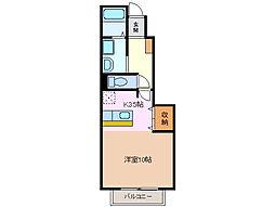 三重県桑名市陽だまりの丘8の賃貸アパートの間取り