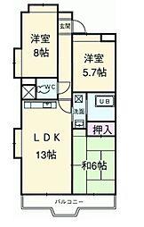 富士スカイハイツ[4階]の間取り