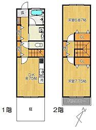 [テラスハウス] 千葉県松戸市殿平賀 の賃貸【/】の間取り