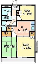 岡山県岡山市中区長岡の賃貸マンションの間取り