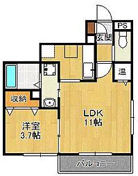兵庫県西宮市大谷町の賃貸アパートの間取り