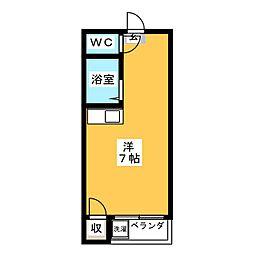 東京ビル6 3階ワンルームの間取り