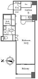 リバーシティ21イーストタワーズII 32階1LDKの間取り