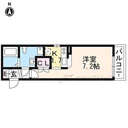 京阪本線 龍谷大前深草駅 徒歩6分の賃貸マンション 2階1Kの間取り