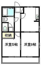静岡県富士市三ツ沢の賃貸アパートの間取り